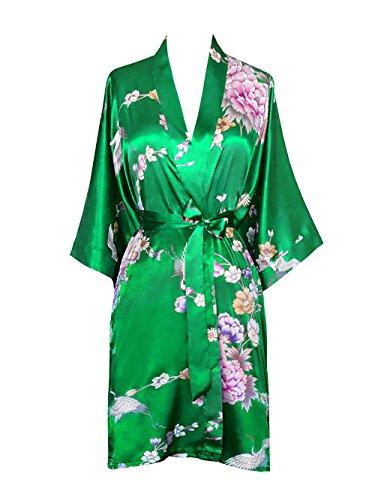 Old Shanghai Women's Kimono Short Robe - Chrysanthemum & Crane - Lush Meadow