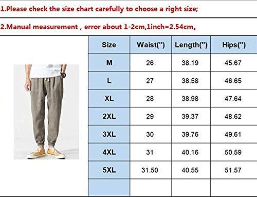 Grau Casuales Harén 4 Para Color Ligero Sueltos Playa Hombres Lino Verano Pantalones Bolsillos Transpirable Con Battercake Cómodo Sólido Laterales De 3 4RwpAWq
