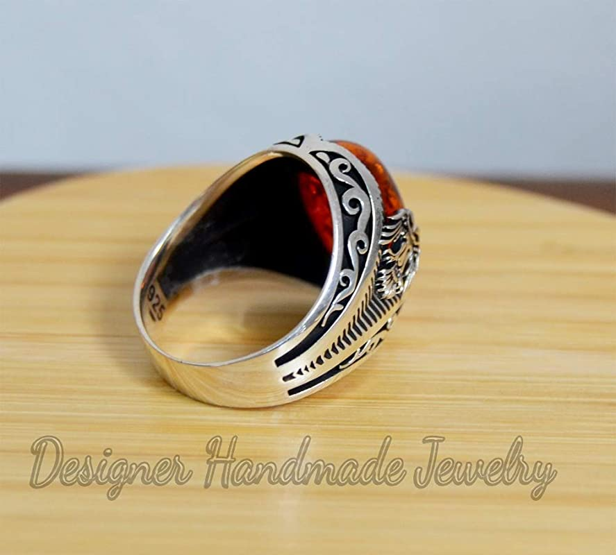 Mens gemstone ring silver men ring ottoman mens ring baltic amber ring men ring gift for him 925 sterling silver ring metaphysical gemstone men/'s wedding ring heavy mens ring