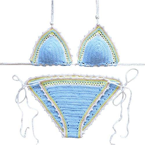 Women Sexy Handmade Crochet Bikini Set Brazilian Swimsuit Swimwear Bathing Suit (Light Blue)
