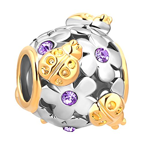 (Charmed Craft Flower Charms Love Ladybug Chafer Charms Crystal Charm Beads for Snake Chain Bracelets (purple))