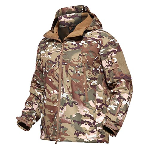 MAGCOMSEN Men's Tactical Army Outdoor Coat Camouflage Softshell Jacket Hunting Jacket, Cp Meisai, US L (Fit Chest 39″-42″ Tag size XL)