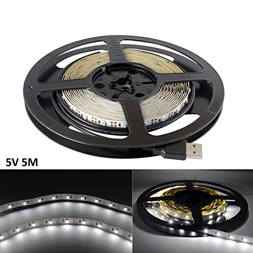 5v Strip (USB LED Strip Light White 5V 5M 300 SMD 3528 with 3M Tape for TV PC Computer Case Back Lighting,Under Counter Light (Non-waterproof, Cool White 6000-6500K,Pack of 5M))