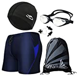 Men's Swimsuit Shorts + Swim Goggles + Swim Cap + Bag + Nose Clip with Ear Plugs Swimming Gear Sets, 1# Navy Blue + Blue, Tag Size XXL = US M