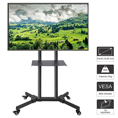 ABCCANOPY Rolling TV Cart, Mobile TV Display Stand for 32-65 Inch LED LCD OLED Flat Screen, Plasma TVs TV Monitor