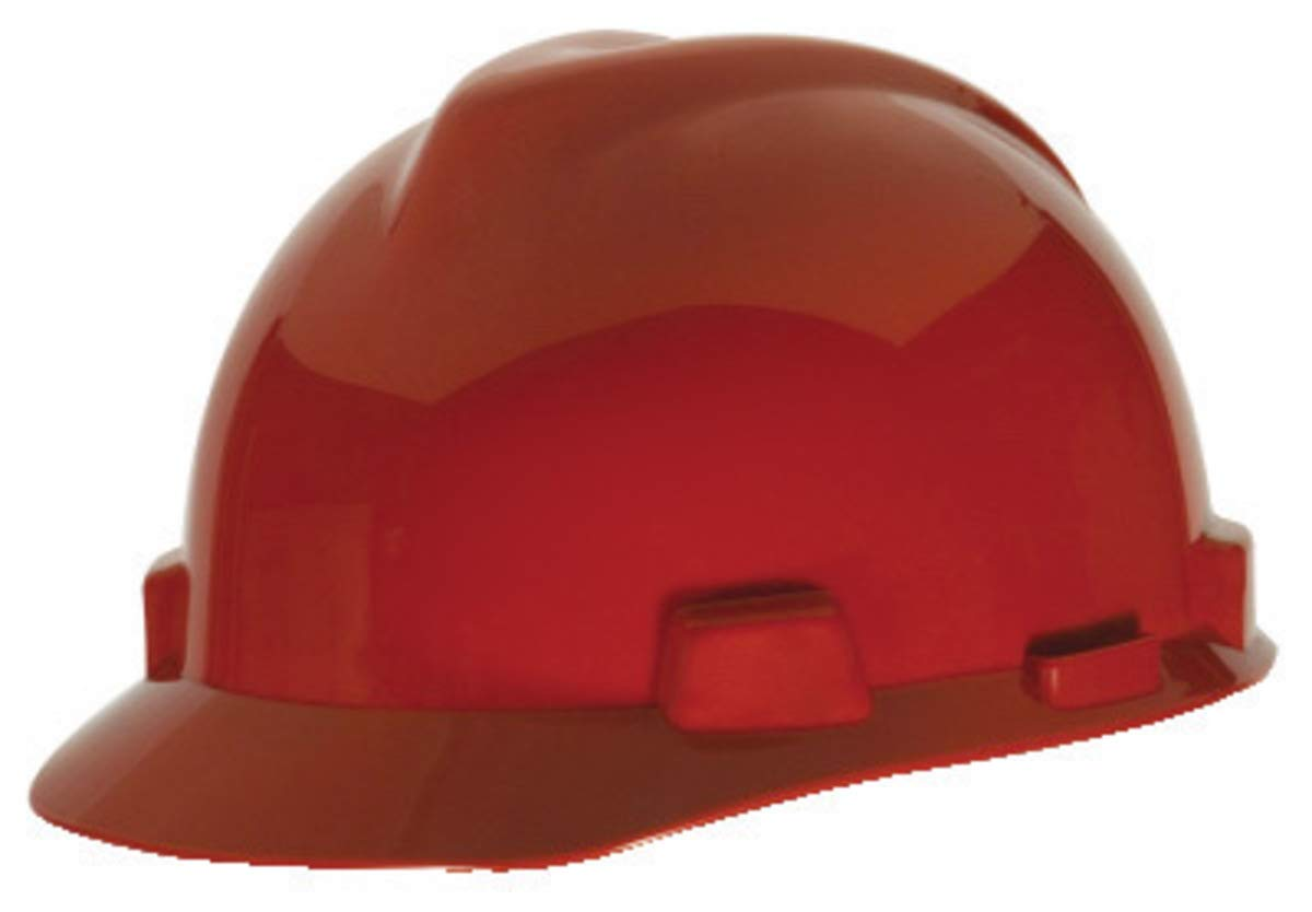 MSA Red Polyethylene Cap Style Hard Hat With 4 Point Ratchet Suspension - Pack of 12