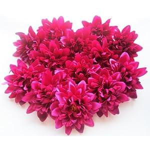 "(12) Violet Silk Dahlia Flower Heads - 4"" - Artificial Flowers Dahlias Head Fabric Floral Supplies Wholesale Lot for Wedding Flowers Accessories Make Bridal Hair Clips Headbands Dress 118"