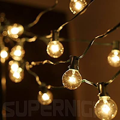 SUPERNIGHT Connectable 26.5ft G40 Clear Globe String Lights Set with 25 Globe Bulbs, for Indoor Outdoor Use Commercial Decor Garden Patio, Warm Yellow Light (Green Wire)