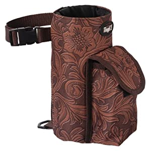 Tough-1 Bottle Holder/Cell Phone Combo Pouch - Tooled Leather Print