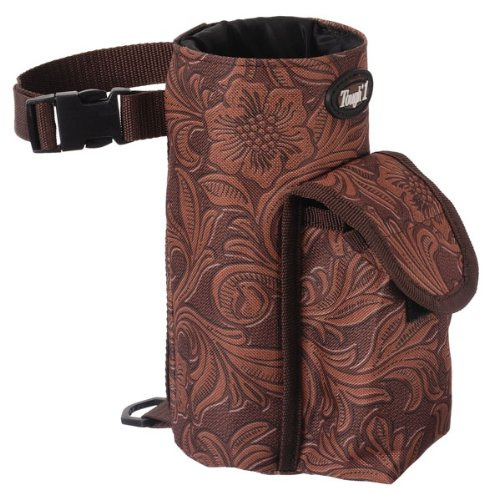 Tough-1 Bottle Holder/Cell Phone Combo Pouch - Tooled Leather (Saddle Water Bottle Holder)