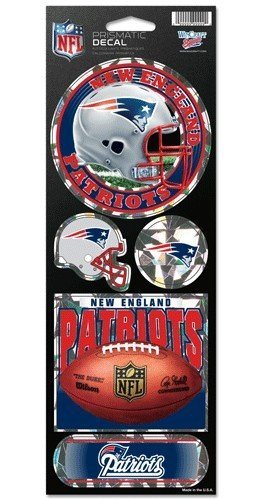 WinCraft NFL New England Patriots Prismatic Stickers, Team Color, One - Patriot Decals