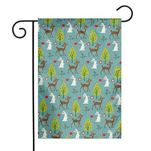 LMHB Deer Rabbit Tree Garden Flag Decorative Sweet Home Yard Banner 12X18inch