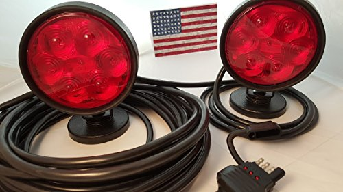 LED Magnetic Tow Lights, S.T.T., 4 Way Flat LED Plug + Spare Vehicle Side LED Plug, 37 Feet Total Length 16/4 Cable, Blk Rbr Coated 3