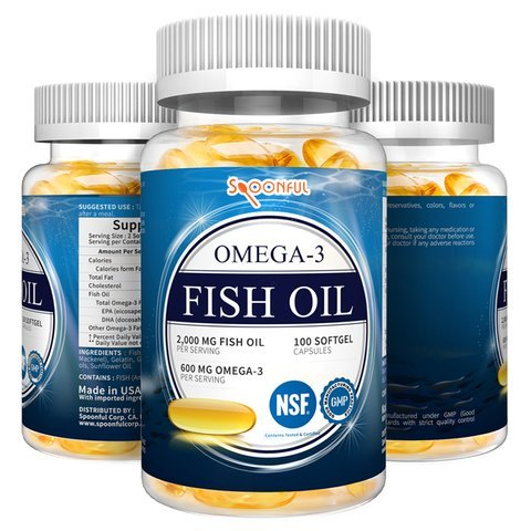 Spoonful Omega 3 Fish Oil 2000 mg, 100 Capsules, Rapid Release Burpless Softgels, NSF-Certified