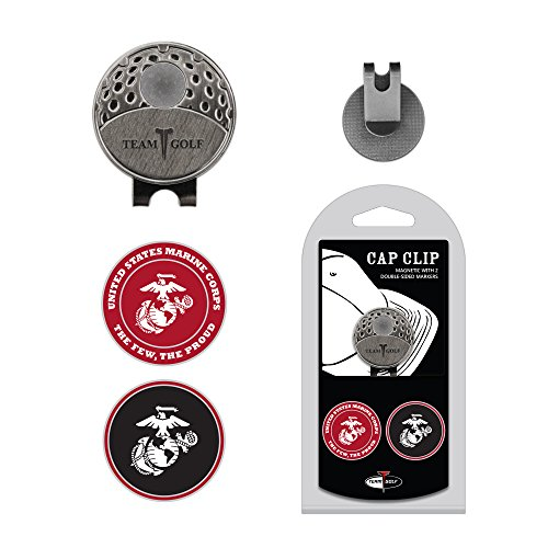 Team Golf Military Marines Golf Cap Clip with 2 Removable Double-Sided Enamel Magnetic Ball Markers, Attaches Easily to Hats