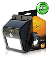Solarblaze Bright SOLAR Powered Outdoor LED light - auto on at night with motion sensor wireless security lighting NO TOOLS Easy Peel 'N Stick lights for patio, outside, wall, stairs, home, RV, deck