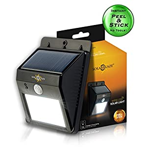 Solar lights Super Bright LED Security Lighting Outdoor |motion sensor wireless security lighting NO TOOLS Easy Peel 'N Stick lights for patio, outside, wall, stairs, home, RV, deck
