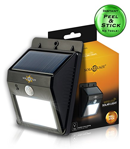 Solarblaze Bright SOLAR LED lights - motion sensor wireless security lighting NO TOOLS Easy Peel 'N Stick lights for patio, outside, wall, stairs, home, RV, deck