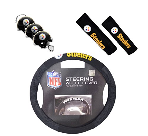 Official National Football League Fan Shop Authentic Auto Accessories Bundle (Pittsburgh Steelers) (Pittsburgh Steelers Fox)