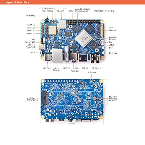 FriendlyElec NanoPC-T4 Open Source RK3399 ARM Development Board DDR4