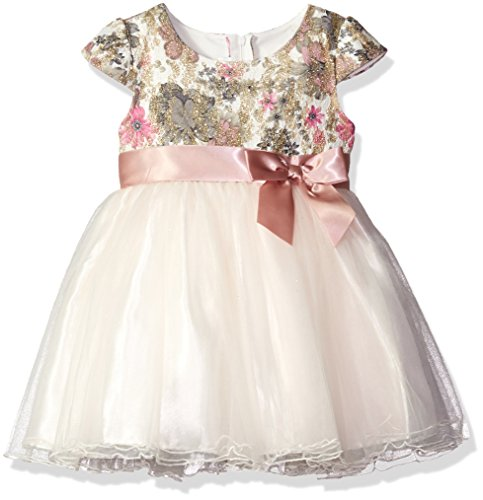 Bonnie Jean Little Girls' Short Sleeve Side Sash Ballerina Party Dress, Ivory, 5