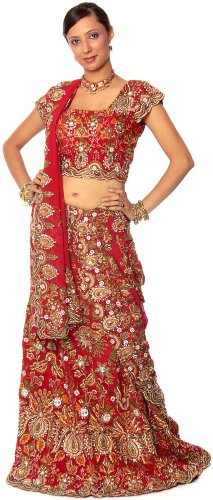 Exotic India Heavy Zardozi Bridal Lehenga with Choli and Dupatta