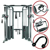 XMark Functional Trainer Cable Machine with Dual 200 lb Weight Stacks, 19 Adjustments, and an Upgraded Accessory Package (Gray)