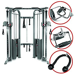 XMark Functional Trainer Cable Machine with Dual 200 lb Weight Stacks, 19 Adjustments, and an Upgraded Accessory Package, and an Optional Bench