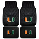 Northwest Officially Licensed NCAA Set of Universal Fit Front and Rear Logo Rubber Automotive Floor Mats - Univeristy of Miami Hurricanes