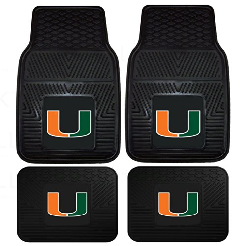 Mats Pacific Car (Officially Licensed NCAA Set of Universal Fit Front and Rear Logo Rubber Automotive Floor Mats - Univeristy of Miami Hurricanes)