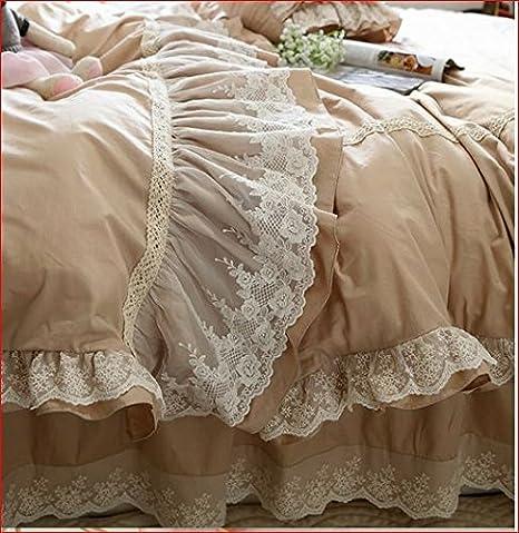 Biancheria Letto Shabby Chic.Set Matrimoniale Biancheria Letto Shabby Modello Tortora B