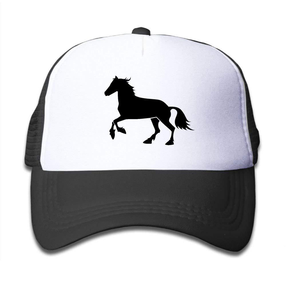 ERCGY Fashion Baseball Caps Hats Black Horse Adjustable Mesh Baseball Caps Kid's Trucker Hats Boy And Girl