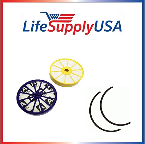 Lifetime Pre Motor - Replacement for Dyson DC07 Washable Lifetime DYR-1810, Includes Both Pre and Post Motor HEPA Filters 901420-02 904979-02 with Rubber Seals by LifeSupplyUSA