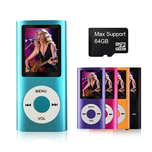 MYMAHDI Support TF Card Micro USB Port Slim Small Multi-Lingual Selection 1.8 LCD Portable MP3/MP4, MP3 Player, MP4 Player, Video Player, Music Player, Media Player, Audio Player Blue