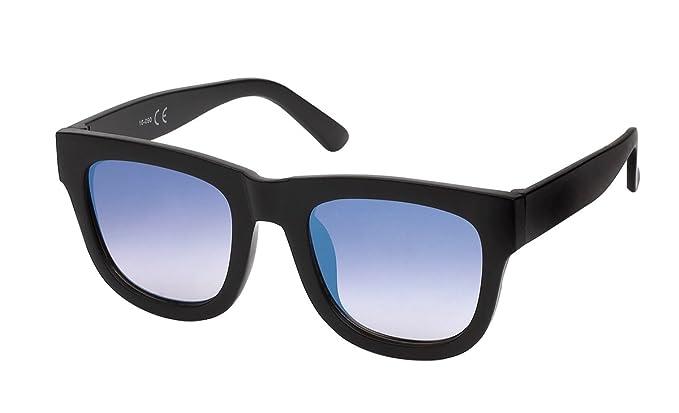 Lunette hipster miroir femme-7841 noir, verre miroir bleu