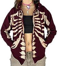 Kookmean Zip Up Hoodies for Women, Casual Women's Y2K Graphic Pullover Sweatshirt Hoodies Oversized Sweate