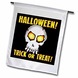 Mark Grace HALLOWEEN skull - ZOMBIE SKULL trick or treat 1 on black - 18 x 27 inch Garden Flag (fl_53379_2)