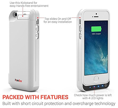 PowerBear iPhone 5SE 5S 5C 5 Extended Rechargeable Battery case 4000mah developed in USB power Bank Capacity Up to 25X Extra Battery White 24 Month assurance and television screen Protector incorporated Charger Cases