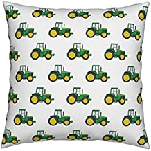 Roostery Farm Linen Cotton Throw Pillow Tractor Little Arrow Green Tractor Farm Themed Nursery Cute Baby Boy by Littlearrowdesign Cover and Insert Included