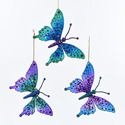 Kurt Adler PEACOCK COLOR BUTTERFLY WITH GLITTER ORNAMENT - 3 ASSORTED: LAVENDER BODY, BLUE BODY AND GREEN BODY