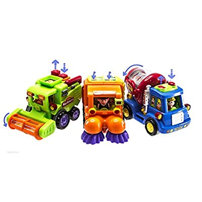 WolVol (Set of 3 Push and Go Friction Powered Car Toys for Boys - Street Sweeper Truck, Cement Mixer Truck, Harvester Toy Truck (Cars Have Automatic Functions): Toys & Games