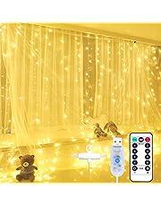 Yizhet Kurtyna świetlna, kurtyna świetlna 2 x 2 m, 200 diod LED, kurtyna, łańcuch świetlny, 8 trybów, kurtyna z pilotem zdalnego sterowania i haczykiem, IP65 wodoodporna do wewnątrz, na zewnątrz, Boże Narodzenie, przyjęcie, (ciepła biel)