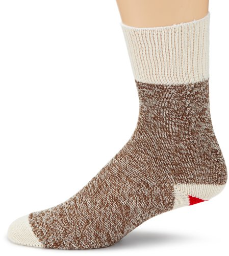 FoxRiver Original Rockford Red Heel Lightweight Crew Monkey Sock - 2 Pack, Brown Heather, Medium