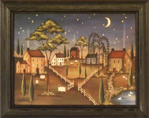 Saltbox House Folk Art (Village Night by Kim Lewis 15x19 Saltbox Houses Moon Stars Primitive Folk Art Print Wall Décor Framed Picture)