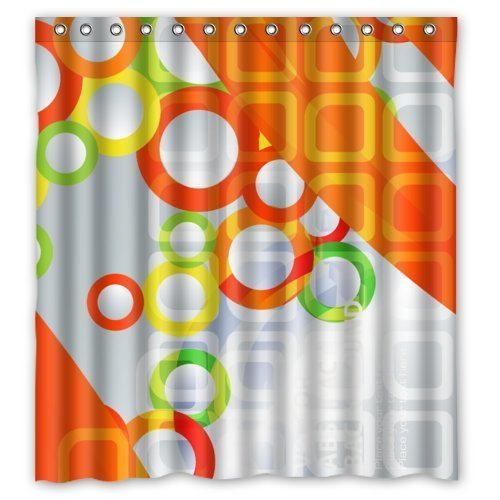 Abaysto Modern Design Fantastic Colorful Circles in Orange Stripes Slivery Background Home Decor Shower Curtain Sets with Hooks Polyester Fabric Great Gift