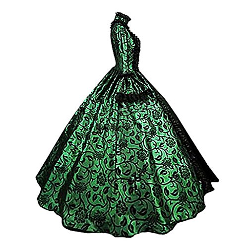 1791's lady Women's Victorian Rococo Dress Inspiration Maiden Costume NQ0032 (S:Height63-65'' Chest34-35'' Waist26-27'', Green&Black) by 1791's lady (Image #2)