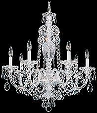 Schonbek 2995-40H Swarovski Lighting Sterling Chandelier, Silver