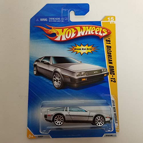- '81 Delorean DMC-12 Silver Color 2010 Hot Wheels New Models 1/64 Scale diecast car No. 015