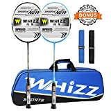 Whizz 2 Player Graphite Frame Badminton Racket Set, Carbon Fiber Light Durable Racquet for Adults and Children, Large Carrying Bag / 2 Grip Tape Included