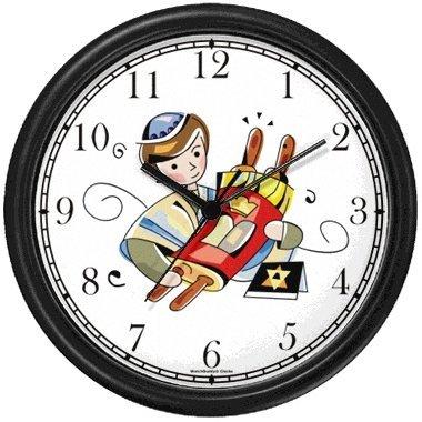 Bar Mitzvah Boy Holding Torah Judaica Jewish Theme Wall Clock by WatchBuddy Timepieces (White Frame)]()
